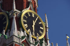The clock in the Spasskaya tower, Kremlin. Moscow, Russia Stock Photos