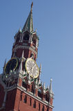 The clock in the Spasskaya tower, Kremlin. Moscow, Russia Royalty Free Stock Photo