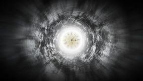 Clock speeds up arrows on fearful corridor.  stock illustration