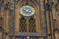 Clock of St. Vitus Gothic Cathedral in Prague Royalty Free Stock Photos