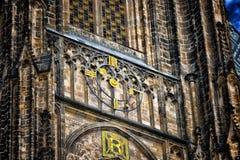 Clock of St. Vitus Gothic Cathedral in Prague Stock Photos
