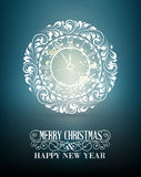 The Clock stamp. Clock stamp over holiday dark background. Happy new year card over dark background. Vector illustration Stock Photography