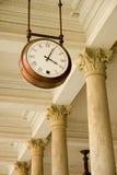 Clock at the station. Hanging clock at the station Royalty Free Stock Photo