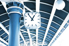 Clock on a station Stock Photos