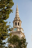 Clock and Steeple on St Martin in the Fields Royalty Free Stock Images