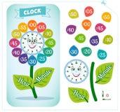 Clock sticker game for children stock illustration