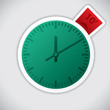 Clock sticker with 10 minute label. Clock sticker with 10 minute red label stock illustration