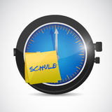 Clock with a sticky note school as a symbol Royalty Free Stock Photos