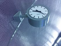 Clock. In the subway. Blue tiles Stock Image