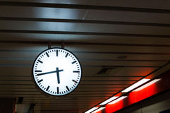 Clock in subway. For see train comes Royalty Free Stock Photos