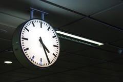 Clock at subway station bangkok thailand. Before sunrise at subway station bangkok thailand.selective focus Stock Images