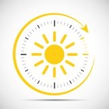Clock with sun summer time change stock illustration