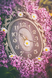 Clock surrounded by spring flowers. Shallow depth of field with selective focus on clock. Lilac flowers Royalty Free Stock Image