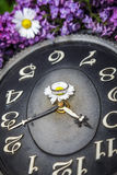 Clock surrounded by spring flowers. Shallow depth of field with selective focus on clock. Lilac flowers Royalty Free Stock Images
