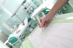 Clock surveillance of patients in intensive care concept Royalty Free Stock Image