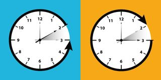 Clock switch to winter time royalty free illustration