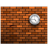 The clock symbol on brick wall. Stock Image