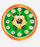 Clock with symbol of football. Football ball on the green background Royalty Free Stock Photos