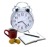 Clock with tea and coffee Royalty Free Stock Photos