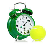 Clock with tennis ball Stock Photography