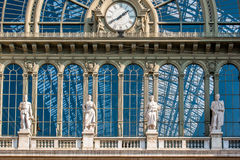 Clock of the terminal train station of Budapest - Keleti. Sight by day of the clock that is on the outside of the train station terminal Budapest - Keleti Stock Photo
