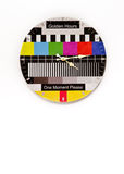 Clock with test image. A wall clock with an old TV test picture background Royalty Free Stock Image