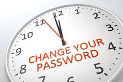 Clock with text change your password Stock Images