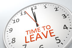 Clock with text time to leave Royalty Free Stock Image