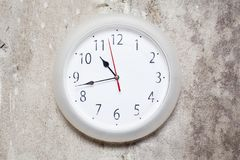 The clock on textured wall Royalty Free Stock Image