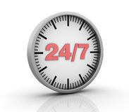 24/7 Clock. Three dimensional illustration of Clock With 24/7 Service Concept Stock Images