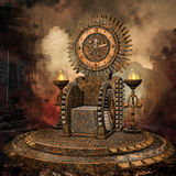 Clock throne. Foggy landscape with a fantasy clock throne royalty free illustration