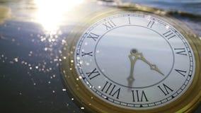 Clock ticking against sun on the sea. Digital animation of Clock ticking against sun on the sea stock video footage