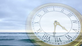Clock ticking against tide coming in. Digital animation of Clock ticking against tide coming in stock footage