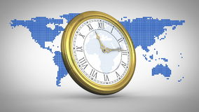 Clock ticking against world map stock footage