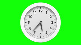 Clock ticking on green background stock video footage