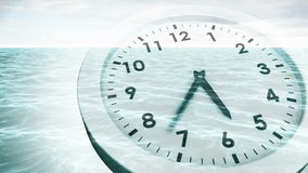 Clock ticking over sea animation stock video