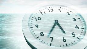 Clock ticking over sea animation. Digital animation of Clock ticking over sea animation stock video