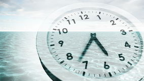 Clock ticking over sea animation stock footage