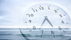 Clock ticking over sea animation stock video footage