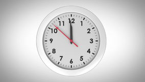 Clock ticking on white background stock video footage