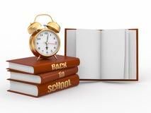clock tillbaka böcker för alarm skolan till Royaltyfri Foto