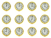 Clock time. Showing all twelve hours isolated on a white background Royalty Free Stock Image