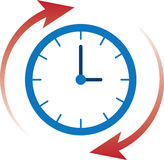 Clock Time Arrows. Clock time with red arrows moving clockwise Stock Photos