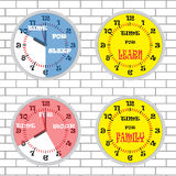 Clock time concept set brick wall Royalty Free Stock Photo
