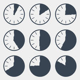 Clock - Time Countdown Vector Set. Isolated on White Background Royalty Free Stock Images