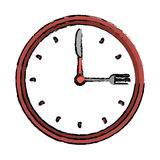 Clock time dinner restaurant fork and knife drawing Stock Photos