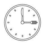 Clock time dinner restaurant fork and knife outline Stock Image