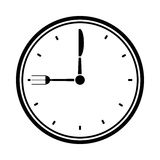 Clock time dinner restaurant fork and knife pictogram Royalty Free Stock Image