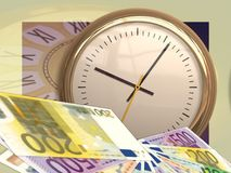 Clock, Time, Euro, Money, Currency Royalty Free Stock Photo