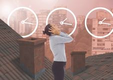 Clock time icons and Businesswoman standing on Roofs with chimney contrasting with apartment blocks. Digital composite of Clock time icons and Businesswoman Stock Photos